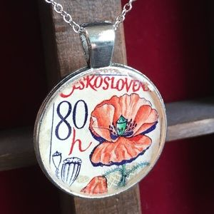Handmade vintage postage stamp necklace pendant